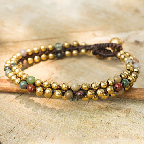 Fair Trade Handcrafted Jasper and Brass Bracelet 'Ethnic Galaxy of Colors'