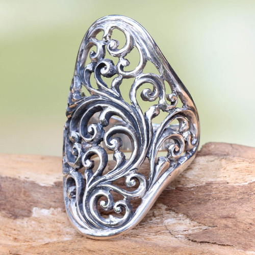 Hand Crafted Sterling Silver Cocktail Ring from Indonesia 'Sukawati Fern'