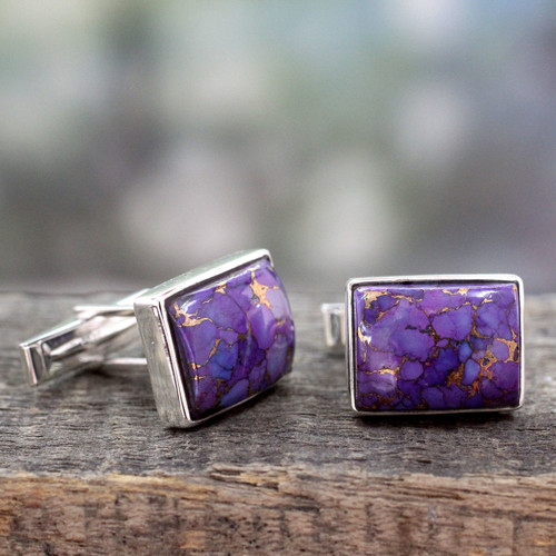 Sterling Silver Cufflinks with Purple Stones 'Bold Charisma'