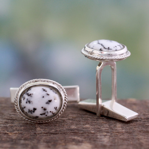 Dendritic Agate and Sterling Silver Cufflinks from India 'Plenitude'