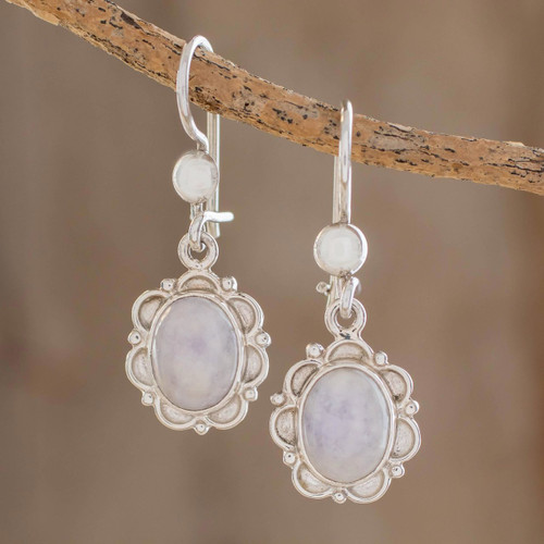 Floral Sterling Silver and Lilac Jade Earrings 'Lilac Princess of the Forest'