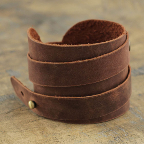 Men's Artisan Crafted Leather Wristband Bracelet 'Wari Warrior in Brown'
