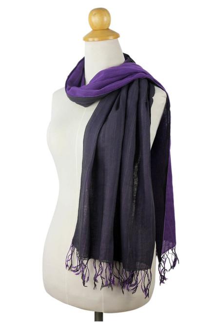 Thai Purple Cotton Scarf 'Purple Duo'