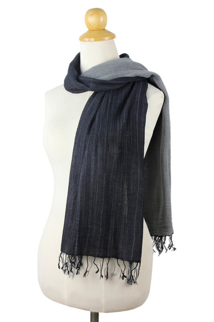 Thai Grey and Black Cotton Scarf 'Grey and Black Duo'