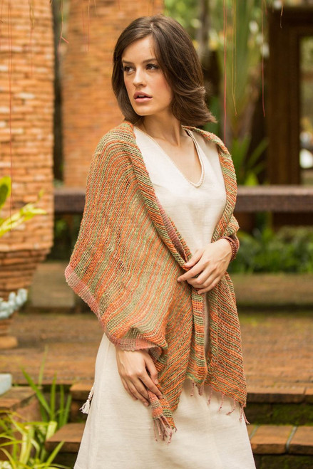 Thai Green and Orange Cotton Shawl 'Breezy Green and Ginger'
