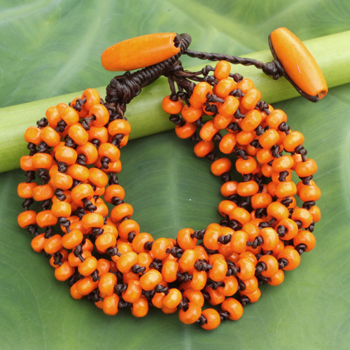 Orange Torsade Bracelet Wood Beaded Jewelry 'Lamphan Belle'