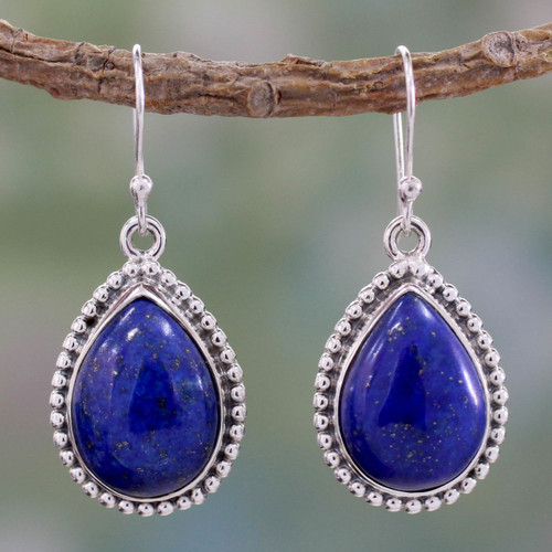 Lapis Lazuli and Sterling Silver Earrings 'Inspiration'