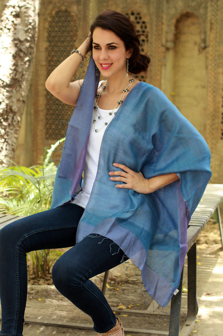 100% Natural Silk Shawl Reversible Wrap 'Blue Lilac'