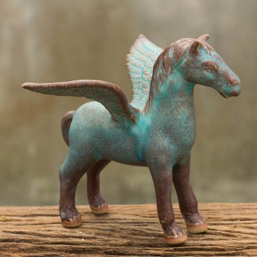 Antiqued Green Celadon Winged Horse Figurine 'Antiqued Green Pegasus'