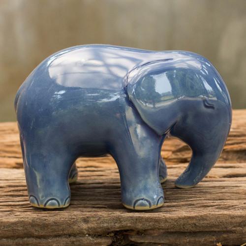 Blue Celadon Ceramic Figurine 'Sapphire Elephant'