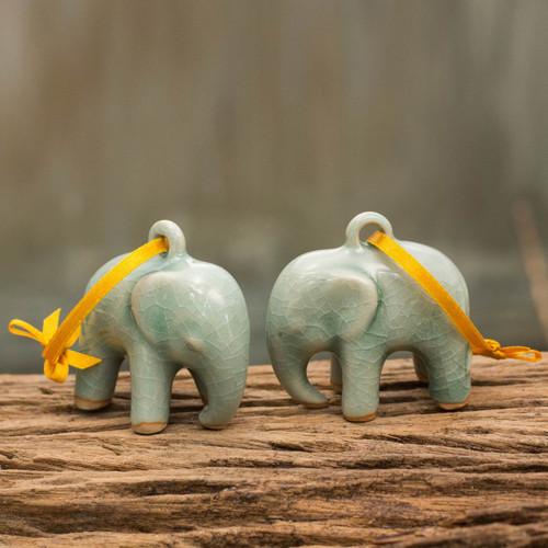 Crackled Green Celadon Ceramic Ornaments (Pair) 'Light Blue Elephant'