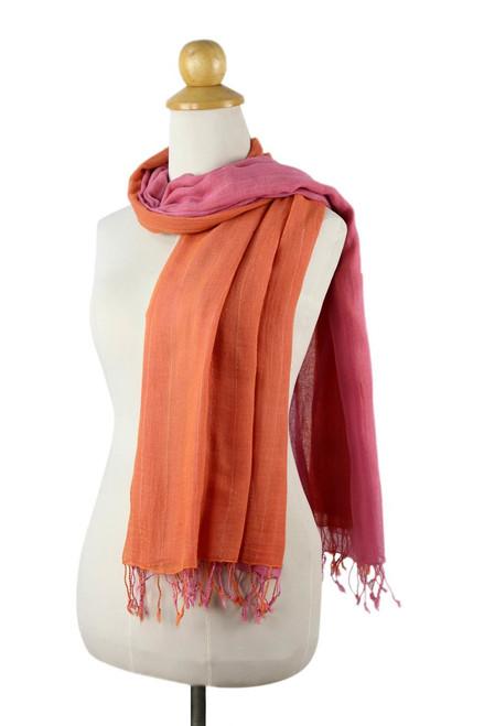 2-in-1 Hand-woven Cotton Reversible Scarf 'Orange Pink Duet'