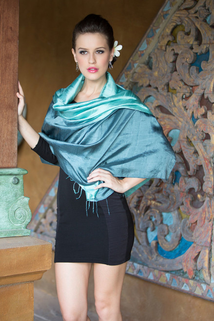 Artisan Crafted Silk Shawl 'Shimmering Green'