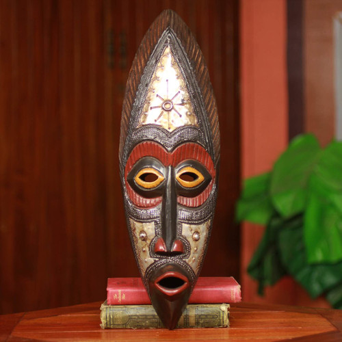 Authentic Hand Carved Akan Tribe African Mask 'Star Deity'