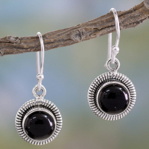 Fair Trade Sterling Silver and Onyx Earrings 'Universal'