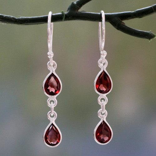 Polished Silver Dangle Earrings with Pear Shaped Garnets 'Mystical Femme'