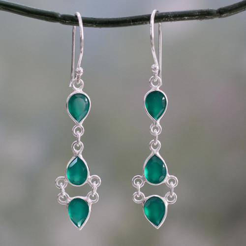 Sterling Silver Handcrafted Earrings with Faceted Green Onyx 'Mystic Wonder'