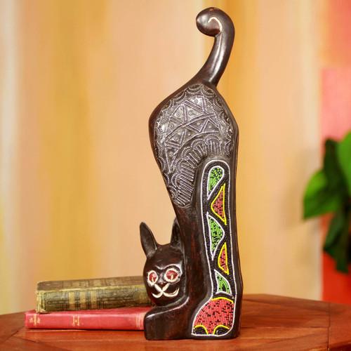 Beaded African Cat Sculpture 'Abyssinian Cat'