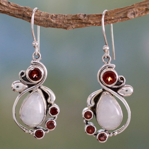 Handmade Garnet Earrings with Rainbow Moonstone 'Exquisite'
