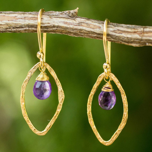 Gold Plated Handcrafted Earrings with Amethyst 'Swinging Ellipses'