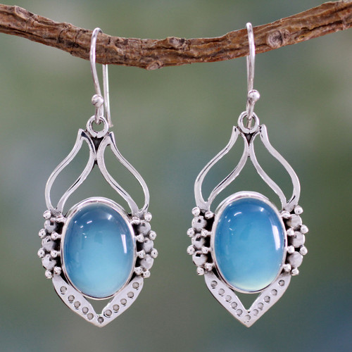 Blue Chalcedony Sterling Silver Earrings from India 'Passion Leaf'