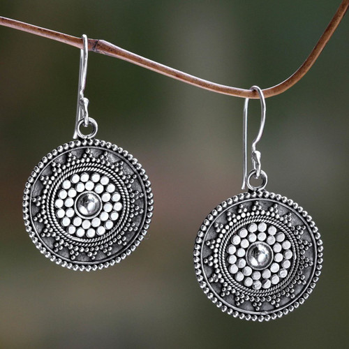 Fair Trade Sterling Earrings 'Indonesian Sun'