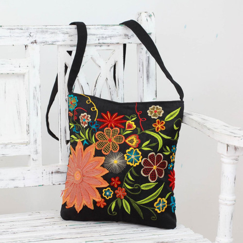 Floral Embroidery on Black Cotton Blend Shoulder Bag 'Tropical Paradise'