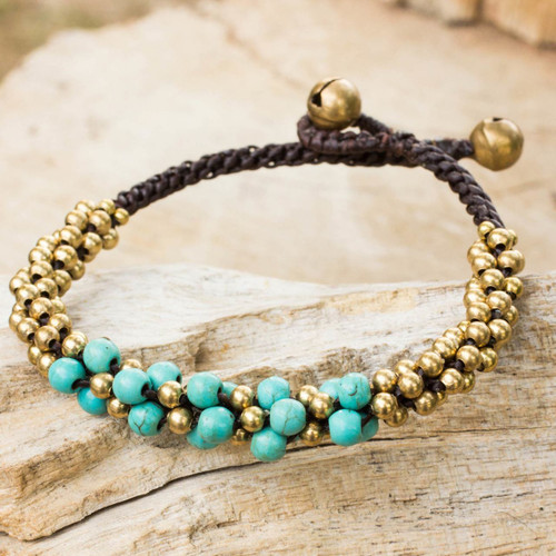 Turquoise Colored Thai Beaded Bracelet with Brass 'Aqua Helix'