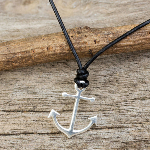 Thai Sterling Silver and Black Leather Pendant Necklace 'Anchor of Hope'