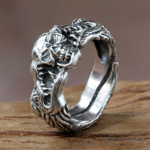 Sterling Silver Skull and Dragon Ring from Bali 'Fierce Dragon'