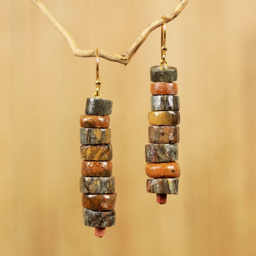 Hand Crafted Natural Soapstone Beaded Hook Earrings 'Aseda Ye'