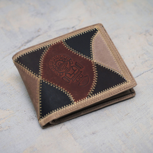 Men's Hand Made Leather Wallet from Peru 'Brown Tumi'