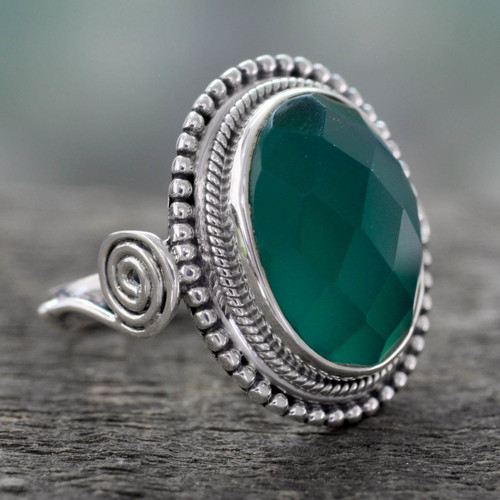 Sterling Silver Cocktail Ring with Green Onyx 'Green Magnificence'