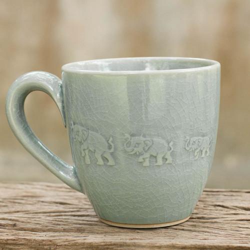 Light Blue Elephant Theme Celadon Ceramic Mug 'Blue Elephant Walk'
