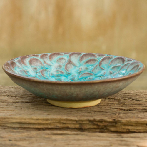 Thai Artisan Crafted Turquoise Blue Floral Ceramic Bowl 'Blossoming In Blue'