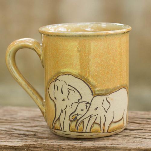 Yellow Elephant Theme Celadon Ceramic Mug 'Yellow Elephant Family'