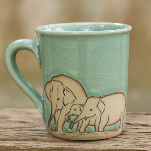 Blue and Brown Elephant Theme Celadon Ceramic Mug 'Blue Elephant Family'