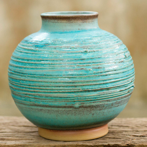 Aqua Blue Small Ceramic Vase from Thailand 'Asian Aqua'