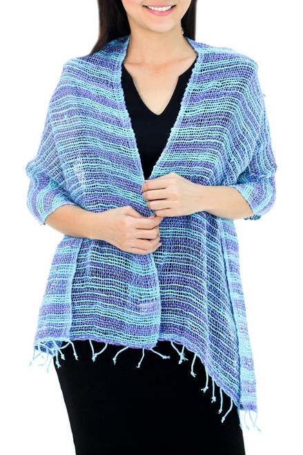 Handmade 100% Cotton Loose Weave Shawl in Blue and Purple 'Spring Breeze'