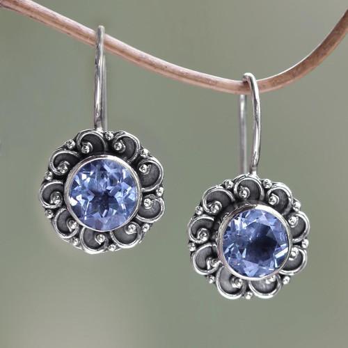 Balinese Blue Topaz Sunflower Drop Earrings 'Singaraja Sunflower Blue'