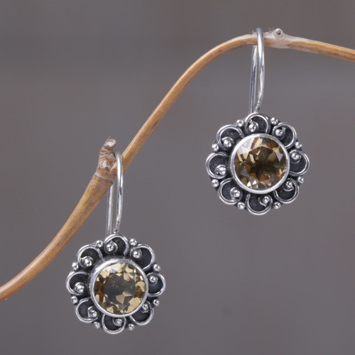 Sterling Silver and Citrine Sunflower Drop Earrings 'Singaraja Sunflower Yellow'