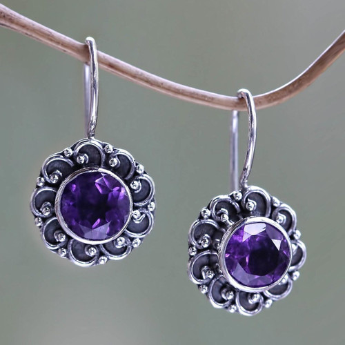 Amethyst Sunflower Drop Earrings from Bali 'Singaraja Sunflower Purple'