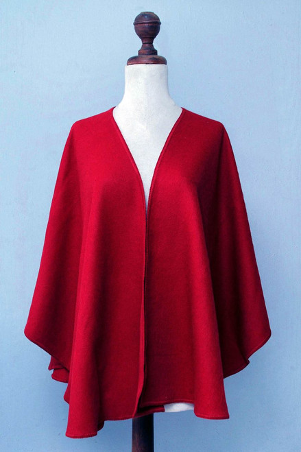 Artisan Crafted Open Front Red Alpaca Blend Ruana 'Scarlet Sky'