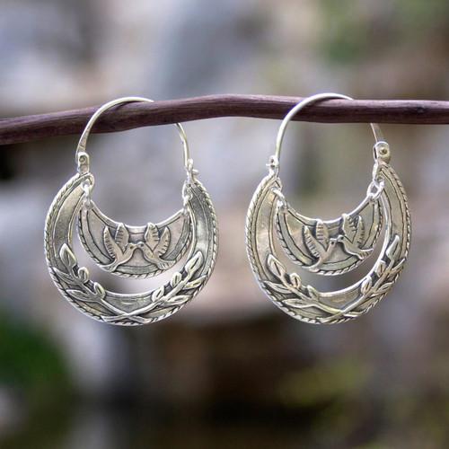Doves Kiss on Sterling Silver Hoop Earrings 'Kiss of Peace'
