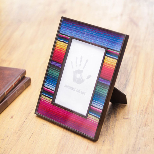 Handcrafted Peruvian Weave and Glass Photo Frame 'Puno Rainbow'