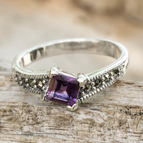 Thai Amethyst and Marcasite Sterling Silver Solitaire Ring 'Deco Days'
