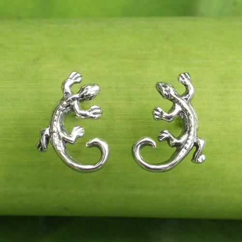 Sterling Silver Chameleon Button Earrings from Thailand 'Chameleon'