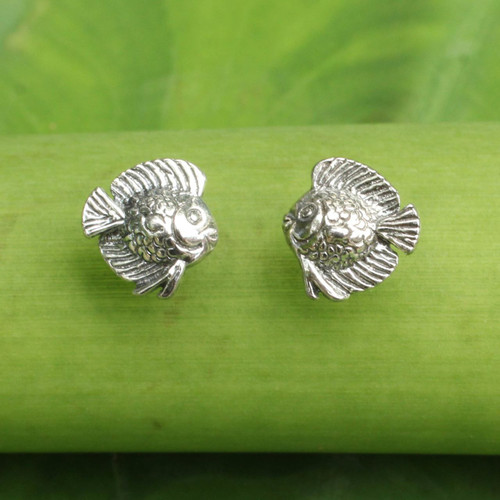 Small Fish Button Earrings in Sterling Silver 'Happy Fish'