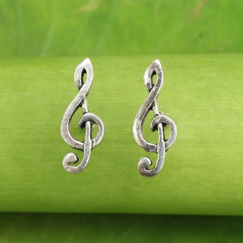 Musical Sol Key Note G Clef Earrings in 925 Sterling Silver 'Sol Key'