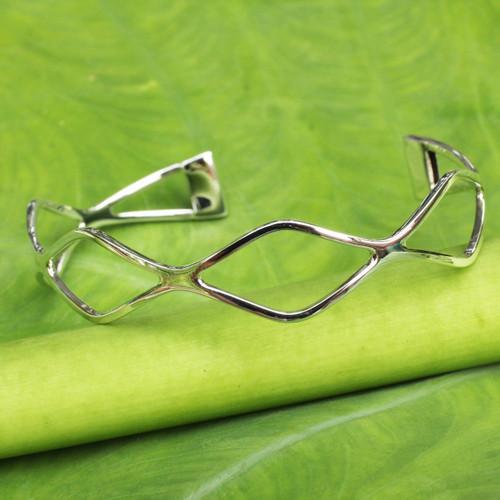 Women's Modern Sterling Silver Cuff Bracelet from Thailand 'Infinite Waves'